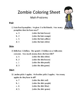 Halloween: Math Activity Word Problems- Non Regrouping Addition and Subtraction