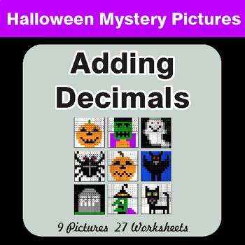 Halloween Math: Adding Decimals - Color-By-Number Math Mystery Pictures