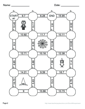 Halloween Math: Adding Decimals Maze