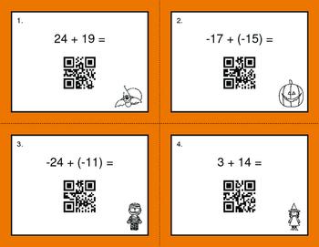 Halloween Math: Adding Integers QR Code Task Cards