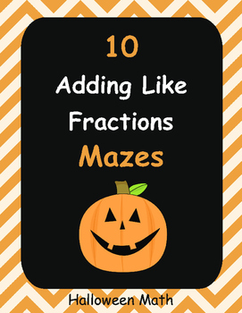 Halloween Math: Adding Like Fractions Maze