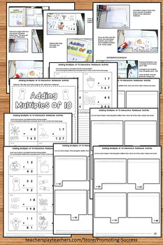 Halloween Math Interactive Notebook, Adding Multiples of 10, Addition Foldable