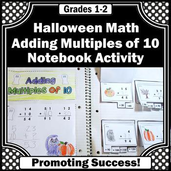 Halloween Math Craft Activity, Adding Multiples of 10, Interactive Notebook