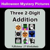 Halloween Math: Adding Three 2-Digit Addition - Color-By-Number Mystery Pictures