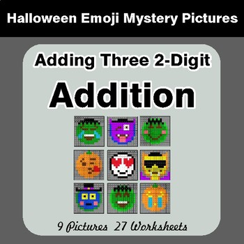 Halloween Math: Adding Three 2-Digit Addition - Color By Number Math Mystery Pictures