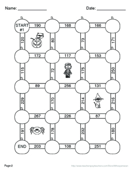 Halloween Math: Adding Three 2-Digit Addition Maze