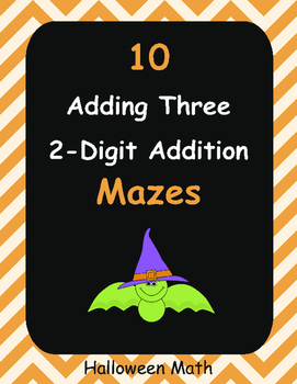 Halloween Math: Adding Three 2-Digit Addition Maze