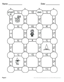 Halloween Math: Adding Unlike Fractions Maze