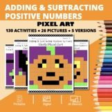 Halloween: Adding & Subtracting Positive Integers Pixel Art