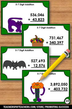 Halloween Math Centers, Multidigit Addition Task Cards 4th or 5th Grade Math