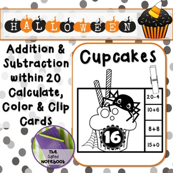 Halloween Addition Subtraction to 20 black and white cupcake Clip Cards