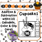 Halloween Addition Subtraction to 20 black and white cupca