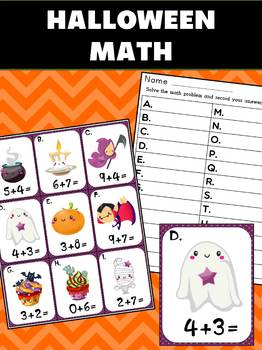 Halloween Math : Addition Sums to 20 - Use for Centers or Game