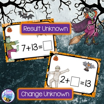 Halloween Math Addition and Subtraction Task Cards