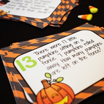 Halloween Math Addition and Subtraction Story Problem Task Cards- 1. O.A. 1.1