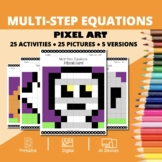 Halloween Math: Algebra Multi-Step Equations Pixel Art Mys