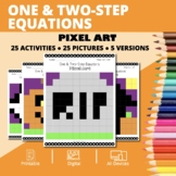 Halloween Math: Algebra One & Two-Step Equations Pixel Art