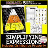 Halloween Math Algebra Simplifying Expressions Coloring Activity