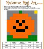 Halloween Math Art - 2 Versions - Fractions, Decimals, and/or Percents