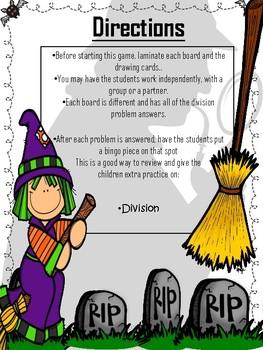 Halloween BINGO *Math*{Long Division: NO REMAINDERS} NO PREP