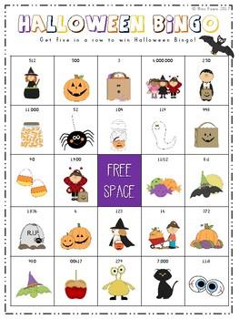 Halloween Math Bingo Game