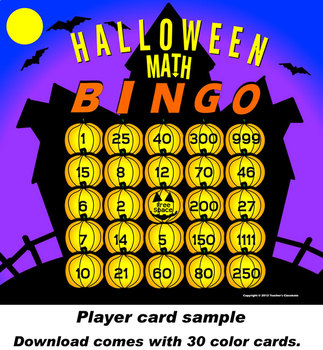 Halloween Math Bingo with Online Bingo Caller