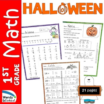 Halloween Math CCSS First Grade Just Print It (Common Core)