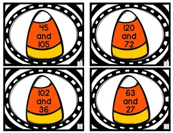 Halloween Math Center:  Candy Corn GCF Matching Game for Older Students
