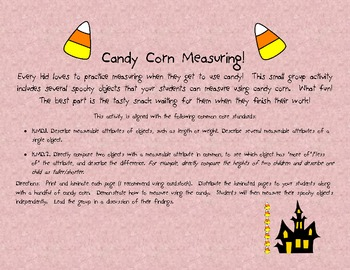 Halloween Math Center: Candy Corn Measuring!