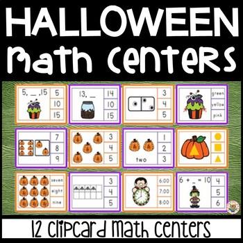 Halloween Math Center Clip Cards 12 Sets