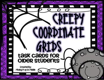 Halloween Math Center:  Creepy Coordinate Grids for Older