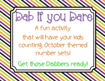 Halloween Math Center - Dab if you Dare!