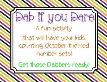 Halloween Math Center - Dab if you Dare!