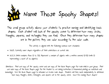 Halloween Math Center: Name Those Spooky Shapes!