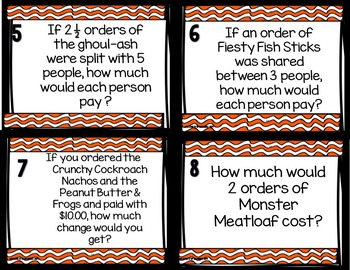 Halloween Math Center:  Operations with Decimals