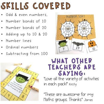 Halloween Math Center Pack - 1st Grade and 2nd Grade