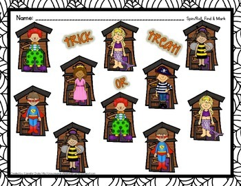 Halloween Math Center  Roll/Spin To Find, Graph and/or Tally!  2 Versions