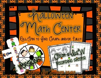 Halloween Math Center  Roll/Spin To Find, Graph and/or Tal
