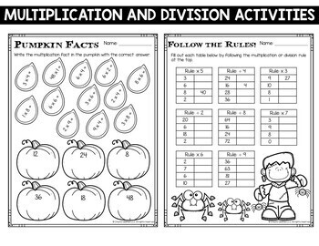 Halloween Math Centers Multiplication and Division