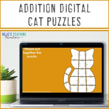 Halloween Math Centers | Addition Cat Puzzles | Halloween Math Activities