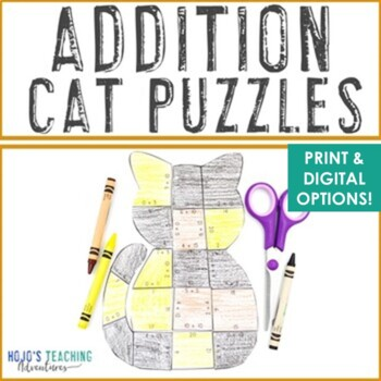 Addition Cat Puzzles | Halloween Activities, Math Centers, or FUN Games