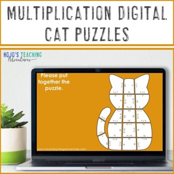 Multiplication Cat Puzzles | FUN Halloween Math Centers, Game, or Activities