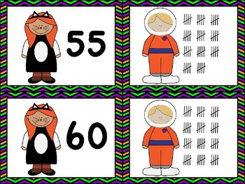 Halloween Math Centers Numbers to 100