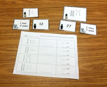 Halloween Math Centers (addition, place value to 30, and counting coins)