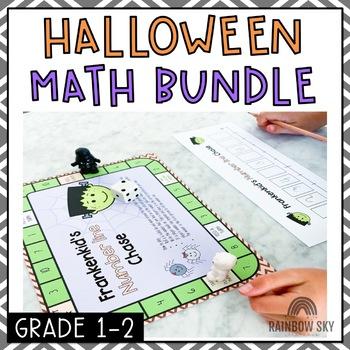 Halloween Math Centre Activities - October Math {first grade, second grade}
