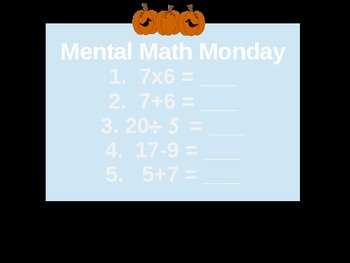 Halloween Math Class Opener