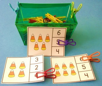 Clip Cards - Math -  Halloween Counting - 3 Sets