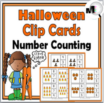 Halloween Math Clip Cards - Counting - 3 Sets