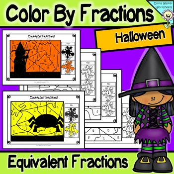 Halloween Math - Color By Fractions (Number) - Equivalent Fractions - Fun & Free