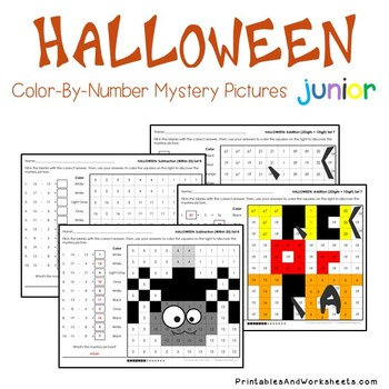 Halloween Math Mystery Pictures with Addition Subtraction Coloring Worksheet etc